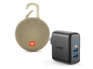 JBL Clip 3 Sand Bluetooth Speaker w/Anker 2 Ports Wall Charger