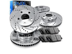 1993 1994 1995 1996 1997 1998 Toyota Supra Full Kit eLine Drill/Slot Brake Disc Rotors & Ceramic Pad