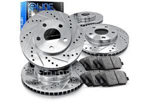 1993 1994 1995 1996 1997 1998 Toyota Supra Full Kit eLine Drill/Slot Brake Disc Rotors & Ceramic Pad