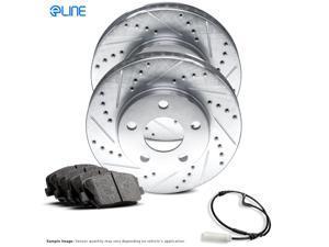 FRONT eLine Drilled Slotted Brake Rotors & Ceramic Brake Pads FEC.34042.02