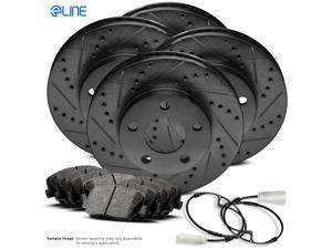 2008 2009 2010 BMW 328i Full Kit Black Drilled Slotted Brake Rotors & Ceramic Pads