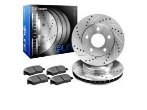 2014 2015 Lexus IS250 Rear eLine Drilled Slotted Brake Disc Rotors & Ceramic Pad