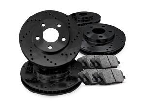 2010 2011 2012 2013 2014 2015 Chevrolet Camaro Full Kit Black Drilled Brake Rotors & Ceramic Pads