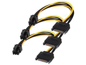 SATA 15 pin to 6 Pin Power Cable 3-Pack 15 pin SATA to 6 pin pci Express power Adapter cable - 8 Inch