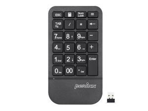 Perixx PERIPAD-705 Wireless Portable Numeric Keypad, for Laptop and Desktop Computer, Big Print Letter, Tab & ESC Key Included