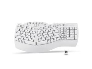 Perixx PERIBOARD-612W Wireless Ergonomic Split Keyboard with Dual Mode 2.4G and Bluetooth Feature, Compatible with Windows 10 and Mac OS X System, White
