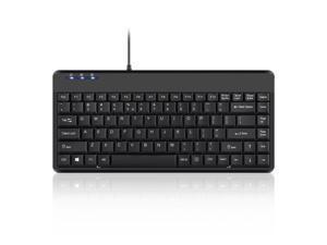 Perixx PERIBOARD-409H, Mini Keyboard with USB Port - 12.40x5.79x0.79 Inch Dimension - Piano Black - Build in 2x USB2.0 Hubs - USB Interface - US English Layout