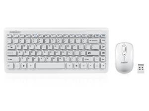 Perixx PERIDUO-707W Wireless 2.4G Keyboard Mouse Set, 11 Hot Keys, Piano White, Chiclet Keys Mini Keyboard Mouse Combo, Batteries Included