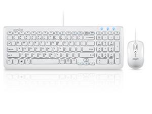 "Perixx PERIDUO-303W, Wired Keyboard and Mouse Combo Set - USB - Compact Size 15.32""x5.59""x0.98"" Dimension - Built-in Numeric Keypad - Piano White Finish - Chiclet Key Design"