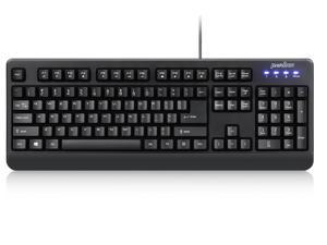 Perixx PERIBOARD-517 Wired Water Proof Keyboard, IP 65 Dust and Water Proof, Black, 24 Anti-Gosting Keys, US English Standard Layout