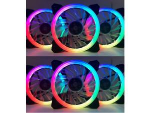EPOWER 120mm Quiet RGB LED PWM Fan (6-Pack) with  8 Port Fan Hub and RF Remote