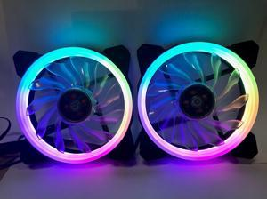 EPOWER 120mm Quiet RGB LED PWM Fan (2-Pack) with  8 Port Fan Hub and RF Remote