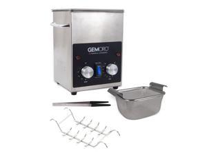 GemOro 2QTH Next Gen Stainless Steel Ultrasonic Jewelry Cleaner With Basket, Tweezers & Ring Rack
