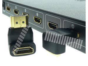 90 Degree Turn ( Right Angled ) Gold Plated HDMI Male to Female Connector Adapter Converter
