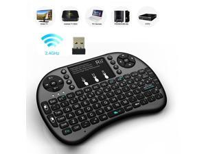 Rii i8+ Wireless Mini Keyboard Mouse backlite Touchpad for PC Smart TV (Black)