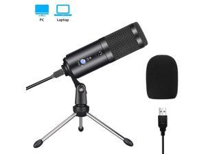USB Condenser Microphone with Tripod Stand for Game Chat Skype YouTube Studio Audio Recording Laptop Mac Computer Windows