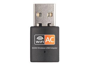 600Mbps Wireless USB Adapter Dual Band 2.4G/5G WiFi Dongle 802.11 ac Mini Wireless Network Card for PC Laptop Desktop Windows XP/Vista / 7-10 Mac