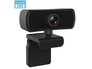 2K Webcam with Microphone, 1440P HD USB Web a Video Camera with Built-in Dual Microphone Webcam for Desktop Computer Laptop