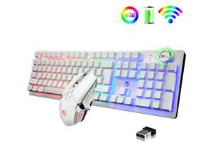 Gaming Keyboard and Mouse Set RGB Backlit Mechanical Feel 4000mAh Battery Ergonomic Waterproof Keyboard for Mac PC Laptop Computer Game Work Office