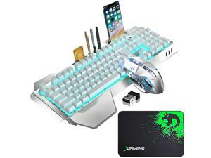Wireless Gaming Keyboard and Mouse with Blue Backlit Rechargeable Metal Panel Mechanical Feel Keyboard and Gaming Mouse for Gamer Laptop PC,White