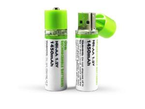 Rechargeable USB Battery 1.2V NI-MH AA 1450mAh/pc one pack of 2pcs