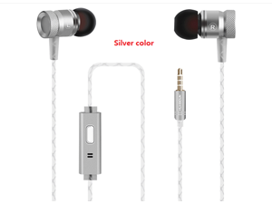 High level metal earphone with microphone HI-FI stereo sound bass sound high quality 3.5mm plug silver color