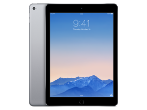 "Apple iPad Air 2 MGTX2LL/A A8X chip with 64-bit architecture and M8 motion coprocessor 1.50 GHz 1 GB Memory 128 GB Flash Storage 9.7"" 2048 x 1536 Tablet PC iOS 8 Space Gray"