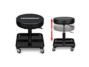 Powerbuilt Pneumatic Height-Adjustable Roller Seat with Tool Tray - 640834