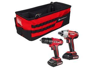 Powerbuilt 20V Cordless Impact Driver and 20V Cordless Drill Combo Kit with Tool Bag - 240233