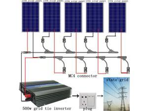 USA STOCK 500Watt grid tie solar panel bundle kit-5x100W solar panel with 500W on grid inverter solar panels system for homes multifunctional use