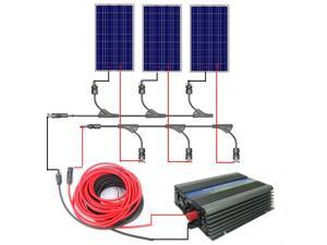 300W Grid Tie Solar Panel Kit System - 3x100W Solar Panel & Connector & 300W On Grid Inverter