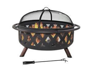 Sunnydaze Large Black Crossweave Fire Pit, 36 Inch Diameter