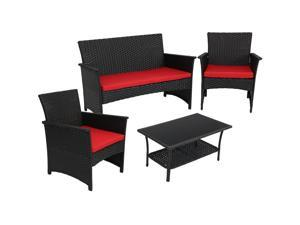 190c1bb7147 Sunnydaze Arklow 4-Piece Outdoor Patio Furniture Set with Red Cushions