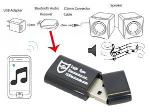 Eagle Eyes Black Bluetooth Music Stereo Wireless Audio Receiver Adapter for AUX IN Home Car PC Speaker System