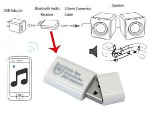 Eagle Eyes White Bluetooth Music Stereo Wireless Audio Receiver Adapter for Home Car Speaker