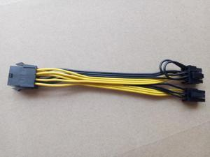 CPU 8Pin to Graphics Video Card Double PCI-E PCIe 8Pin ( 6Pin + 2Pin ) Power Supply Splitter Cable Cord 15cm