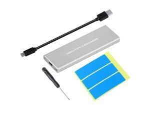 NVMe PCIE USB3.1 HDD Enclosure M.2 to USB Type C 3.1 M KEY SSD Hard Disk Drive Case External Mobile Box(SILVER)