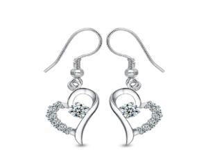 925 Sterling Silver Plated Jewelry Love In Heart Earring With Crystal For Women Christmas Gift