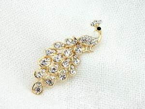 Shining Alloy Rhinestone Peacock Style Costume Crown Brooch Decorative Brooch Pin for Woman Girl