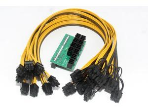 Mining Power Supply Kit: 10*6Pin Port Breakout Adapter Board with 10pcs 50CM UL 1007 18AWG 6Pin Male to 6+2Pin Male Cable