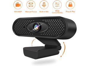 Full 1080P HD USB Webcam with Microphone - Video Calling/Recording/Online Teaching - for Desktop or Laptop with 90° Wide View Angle and Built-in Noise-canceling Microphone