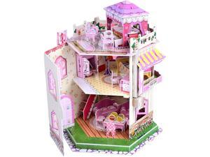 3D Puzzle Dollhouse for Kids, 3D Jigsaw Dollhouse Puzzle for Girls - Educational Paper Craft Toys for Game Xmas Birthday Gifts, Easy to Assemble with LED Light - 101 Pieces