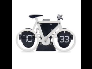 Sourcingbay Retro Flip Clock, Bike Shaped Flip Desk Clock for Living Room Decor, Home Office Decor, Office Decor for Women & Men - White