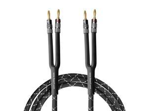 GearIT 12AWG Premium Heavy Duty Braided Speaker Wire (10 Feet) with Dual Gold Plated Banana Plug Tips - Oxygen-free Copper (OFC) Construction, Black