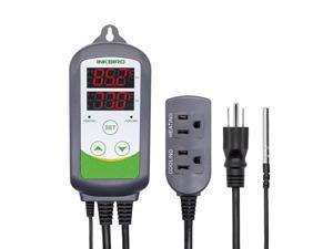 Inkbird ITC-308 Digital Temperature Controller 110V 10A 1100W Heating and Cooling Mode Carboy Homebrew Fermenter Greenhouse Terrarium 2-Stage Outlet Thermostat