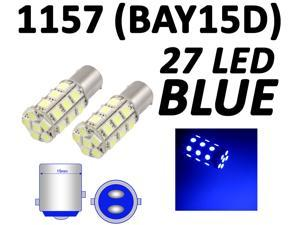 IG Tuning 1157 BAY15D 2357 7528 27-SMD 5050 LED Turn Signal Light Side Marker Dome License Plate Reverse Bulbs (Blue)