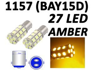 IG Tuning 1157 BAY15D 2357 7528 27-SMD 5050 LED Turn Signal Light Side Marker Dome License Plate Reverse Bulbs (Amber/Yellow)