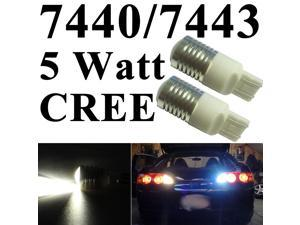 IG Tuning 7440/7443 T20 5W CREE Q3 Chip LED Super Bright - Xenon Pure White Turn Signal Light, Corner Light, Stop Light, Parking Light, Side Marker Light, Tail Light, and Backup Lights 12V