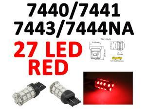 IG Tuning 27-SMD Red 7440 7441 7443 7444 992A T20 LED Replacement Bulbs Reverse Light, Turn Signal Light, Corner Light, Stop Light, Parking Light, Side Marker Light, Tail Light, and Backup Lights 12V