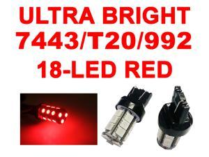 IG Tuning 18-SMD Red 7440 7441 7443 7444 992A T20 LED Replacement Bulbs Reverse Light, Turn Signal Light, Corner Light, Stop Light, Parking Light, Side Marker Light, Tail Light, and Backup Lights 12V